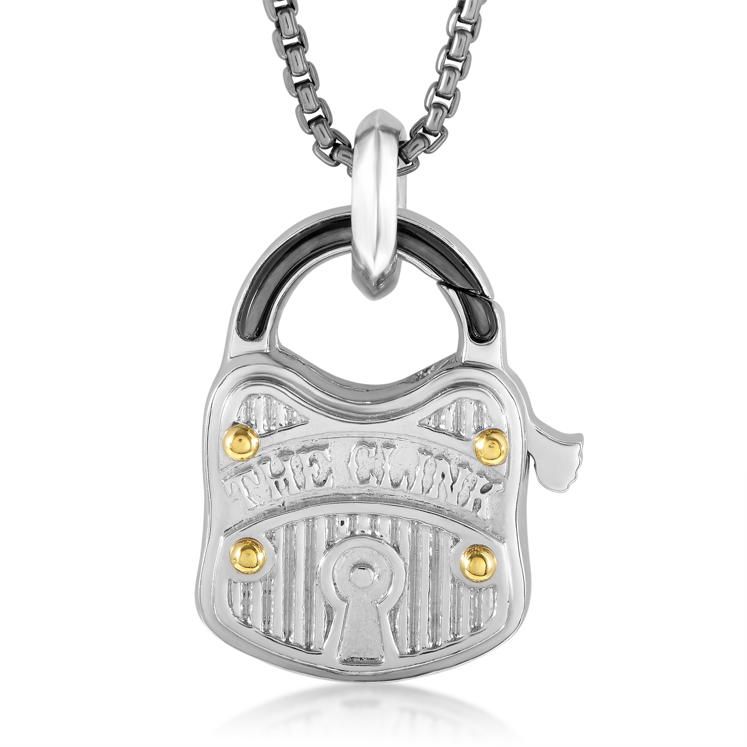 Sterling Silver Black Mother of Pearl Padlock Pendant Necklace