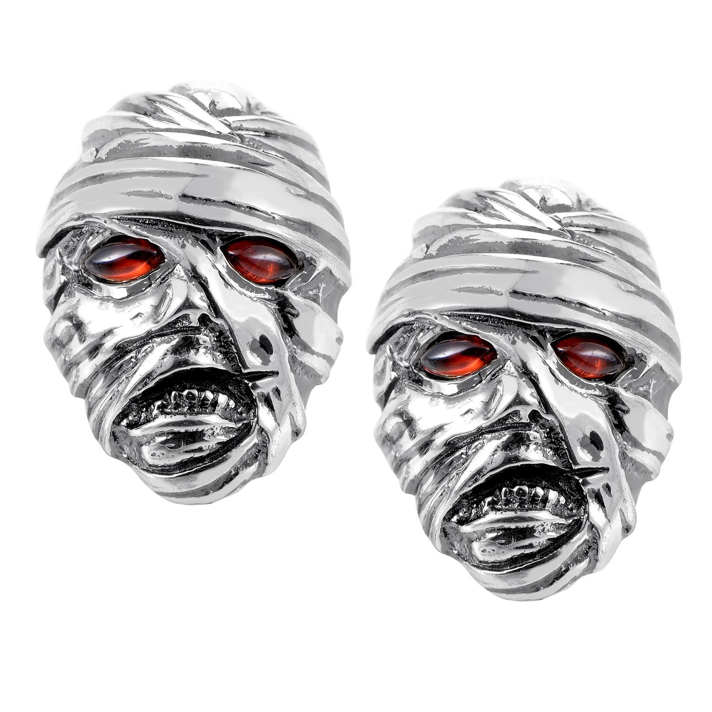 Men's Sterling Silver Garnet Mummy Cufflinks 3011906