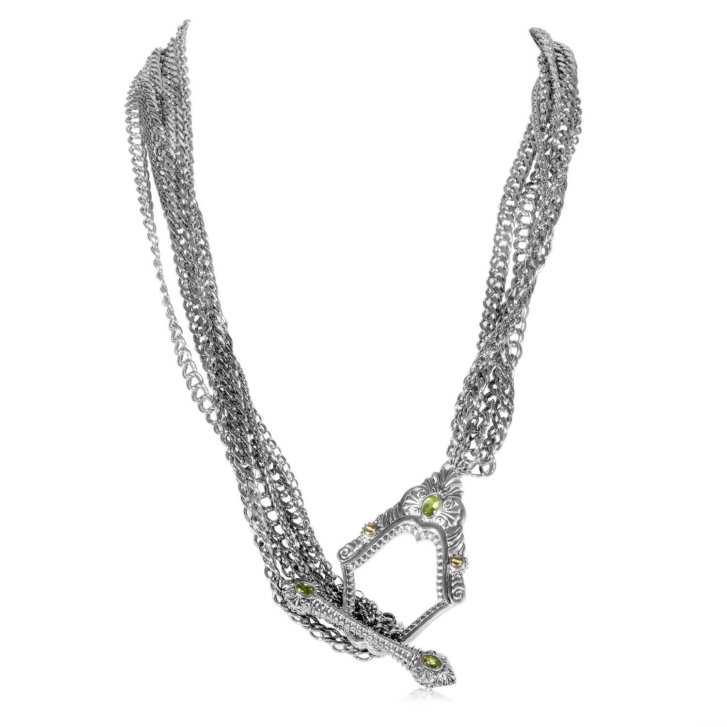 Jewels Verne Women's Sterling Silver & Peridot Toggle Necklace