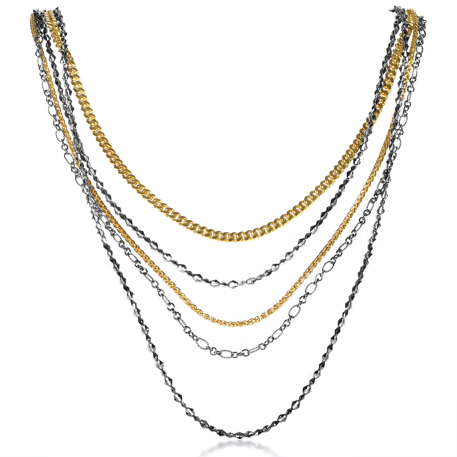 Superstud Women's Gold-Tone Sterling Silver Multi-Chain Necklace