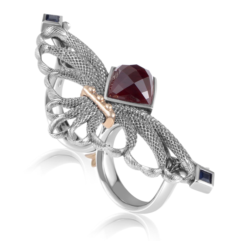 Jewels Verne Silver Black Sapphire & Quartz Ring 3012733002