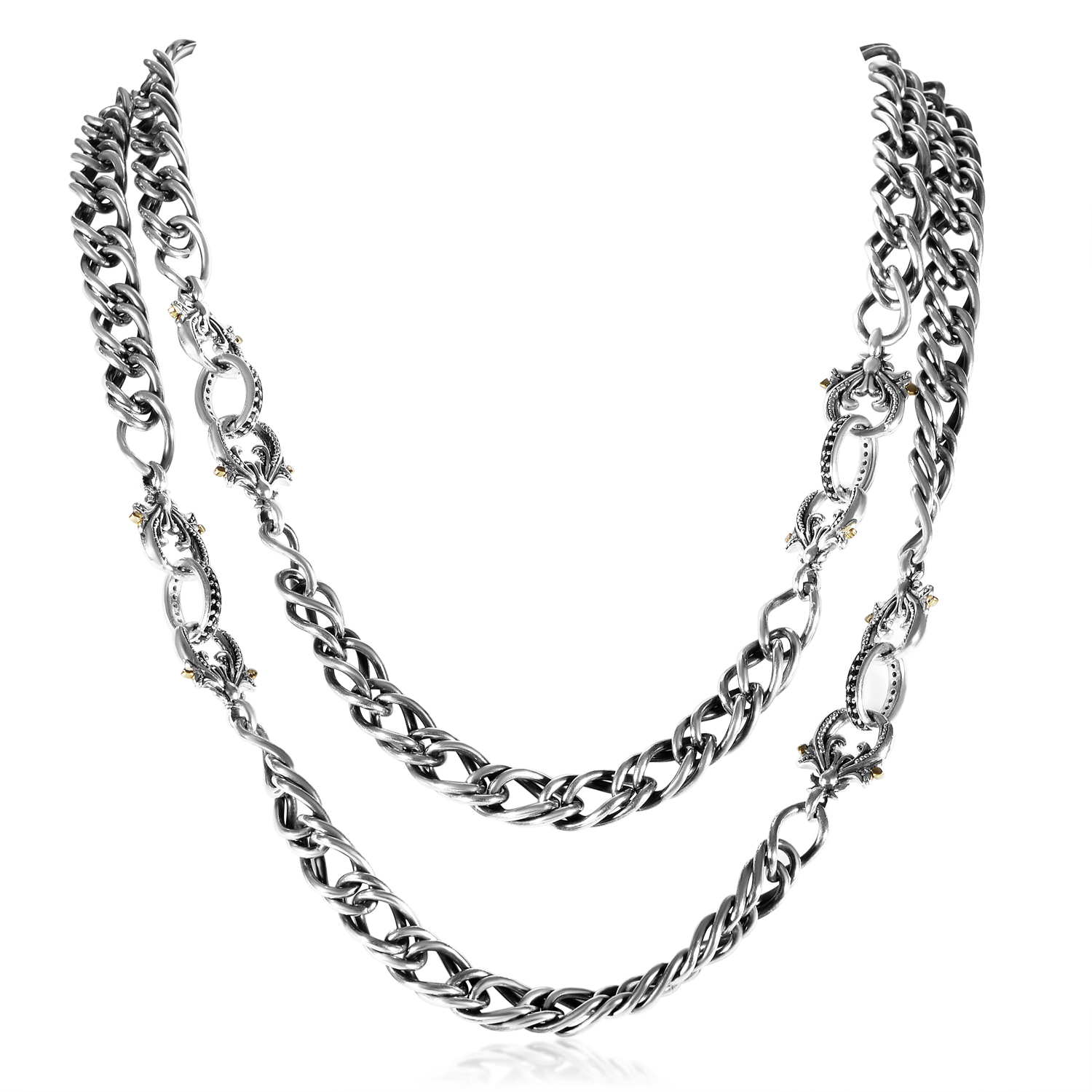 Jewels Verne Sterling Silver & Black Sapphire Chain Link Necklace