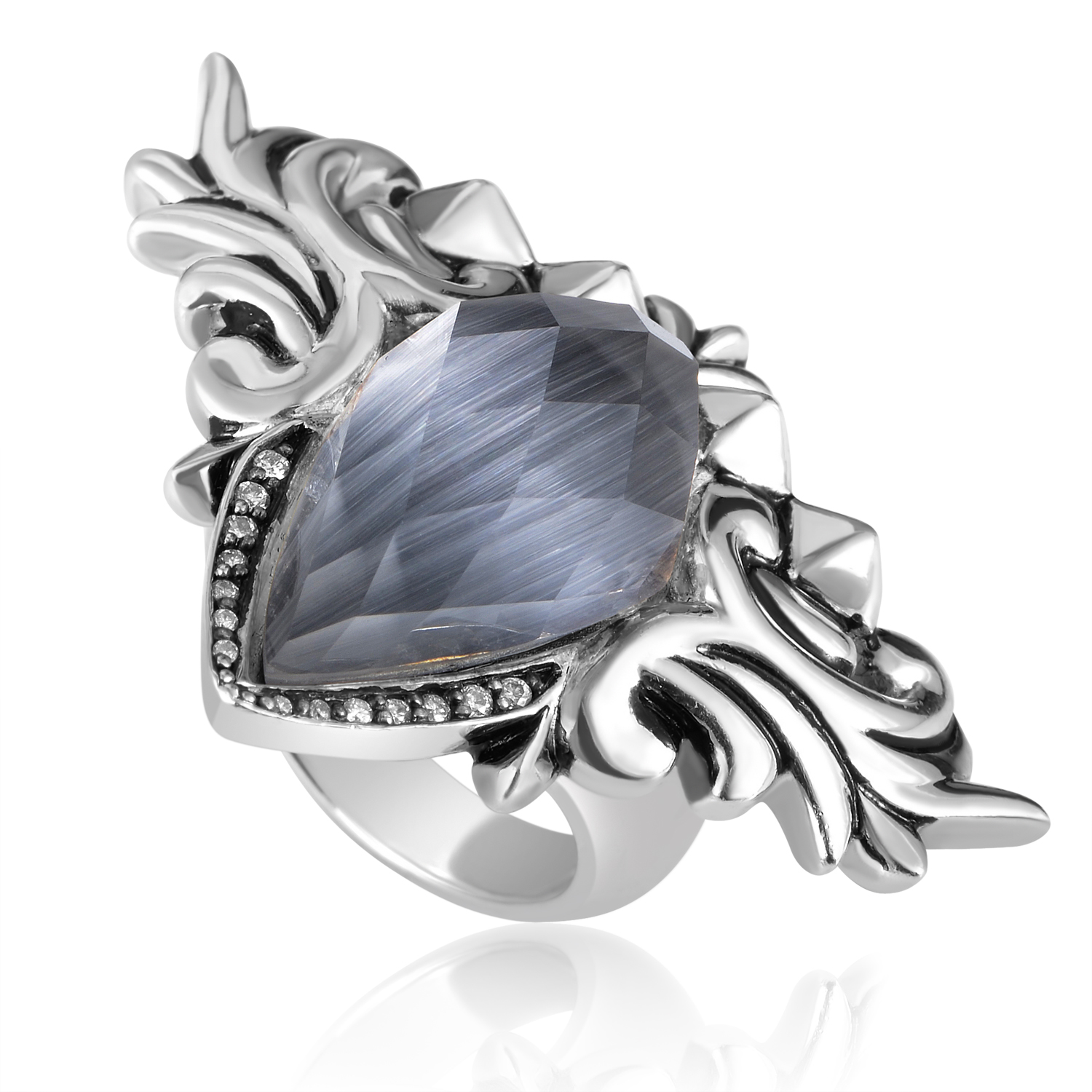 Baroque Superstud Womens Sterling Silver Diamond & Gemstone Ring