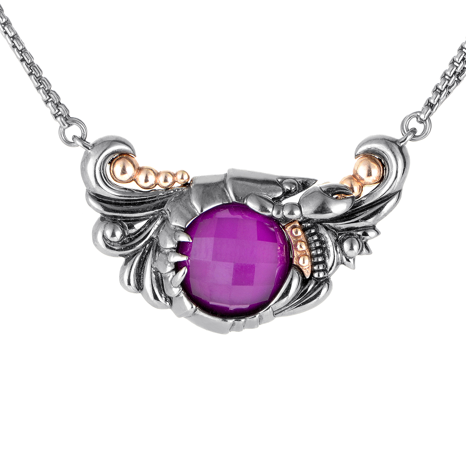 Jewels Verne Silver Quartz & Sugilite Pendant Necklace