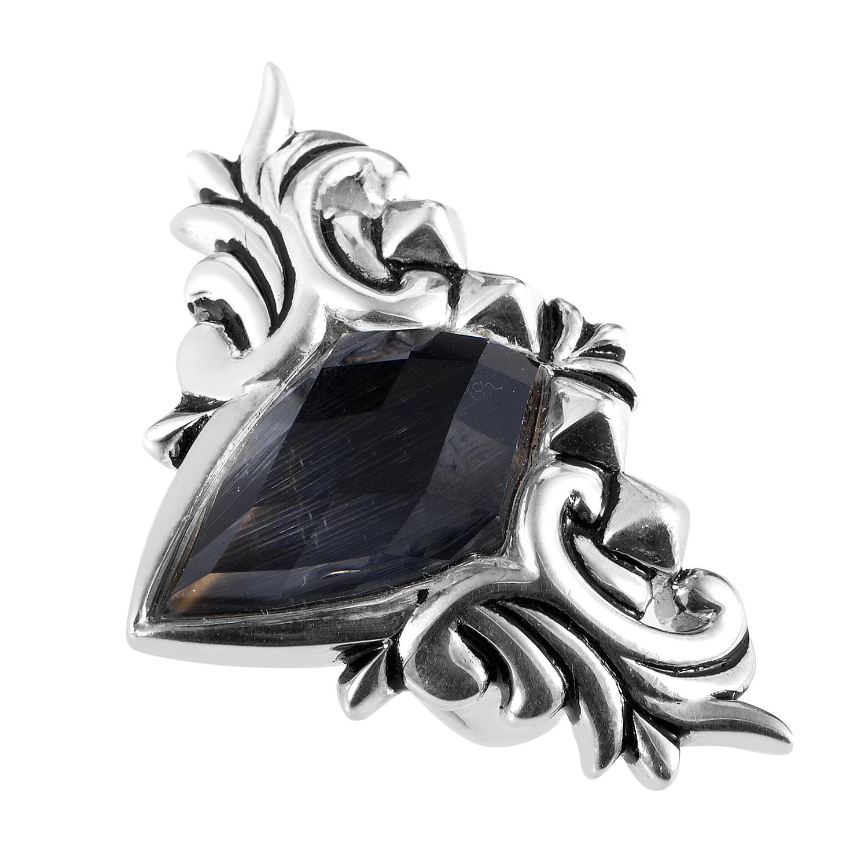 Baroque Superstud Womens Sterling Silver Cat's Eye & Quartz Ring