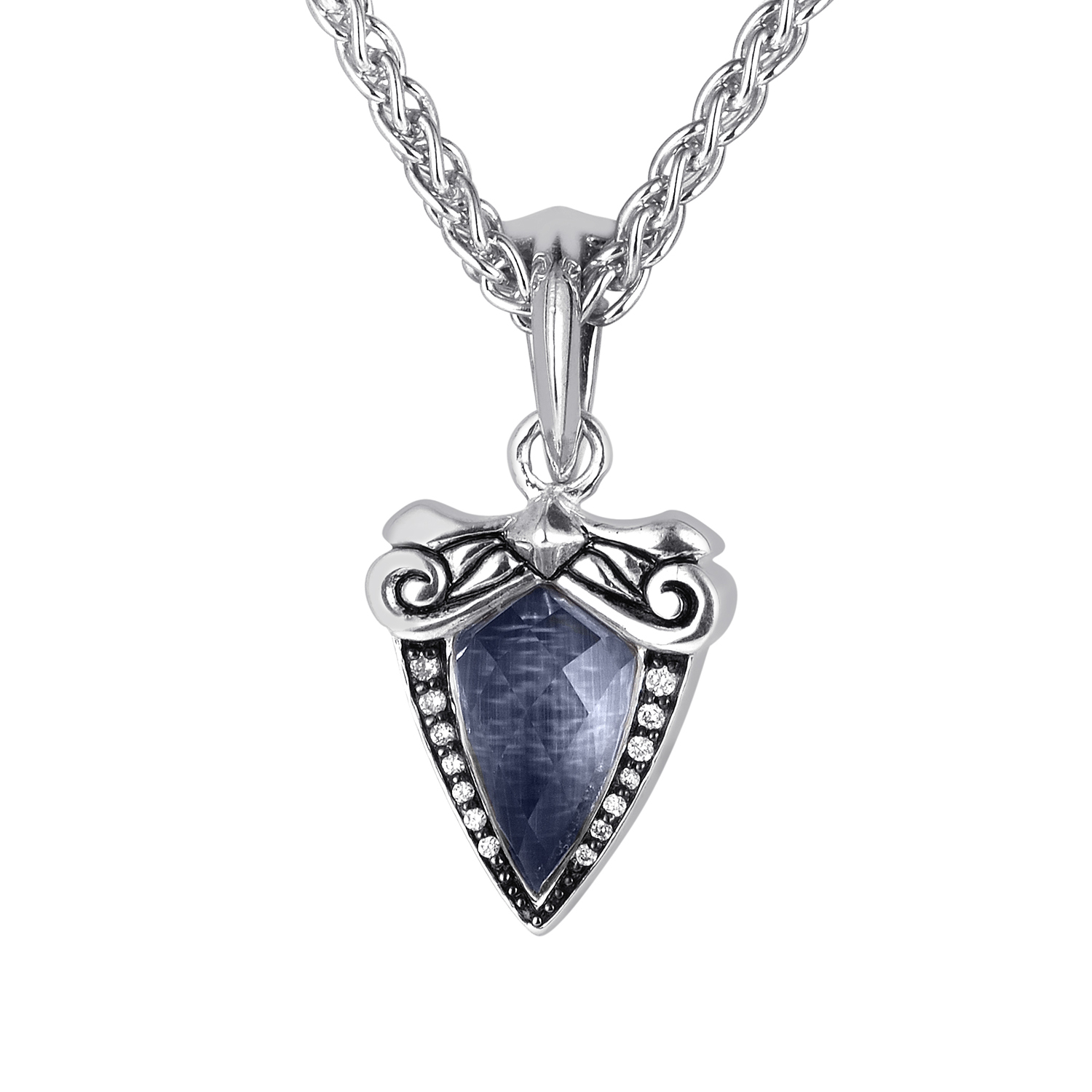Superstud Baroque Silver Gemstone & Diamond Pendant Necklace