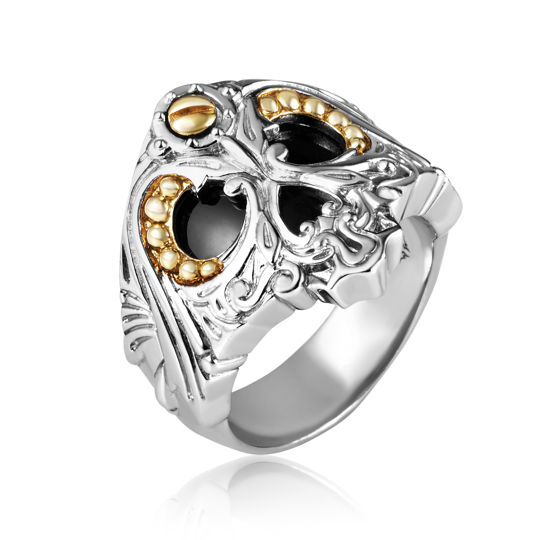 No Regrets Sterling Silver & Onyx Skull Ring