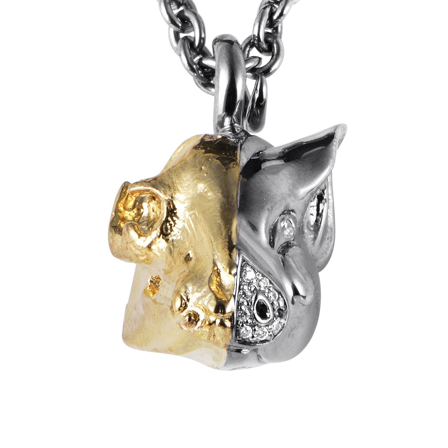 Mens Gold Plated Silver & CZ Pig Pendant Necklace