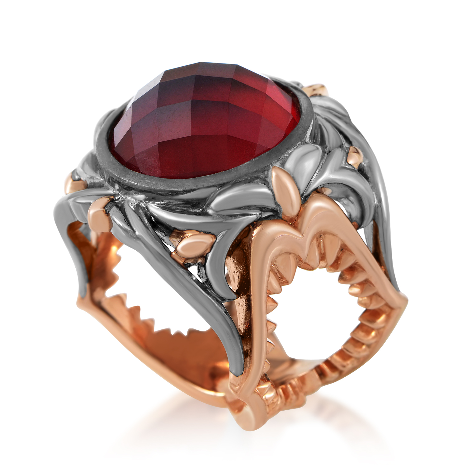 Les Dents de la Mer Sterling Silver Red Glass and Quartz Ring