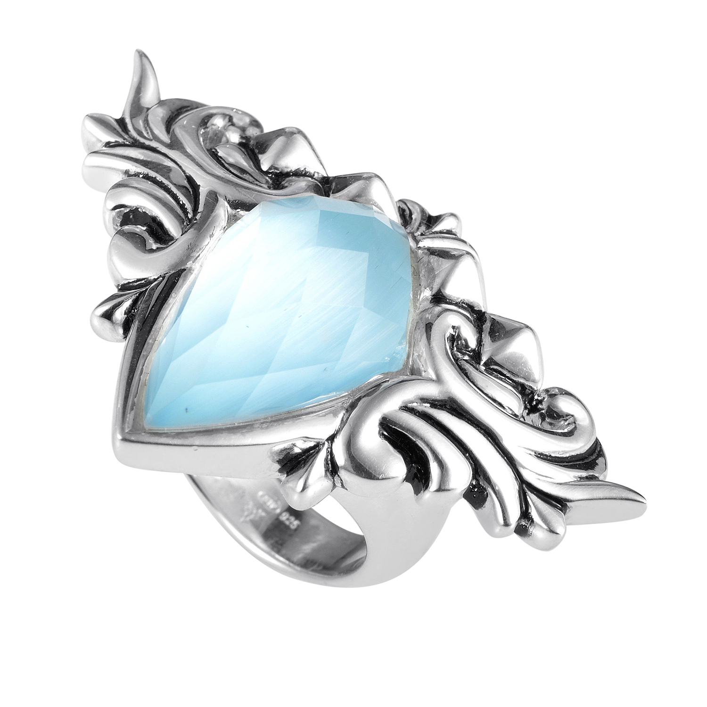 Baroque Superstud Sterling Silver Multi-Gemstone Ring 3013312003