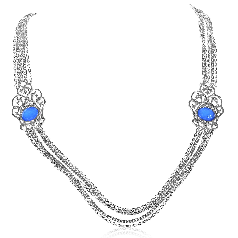 Les Dents de la Mer Sterling Silver Agate & Quartz Necklace