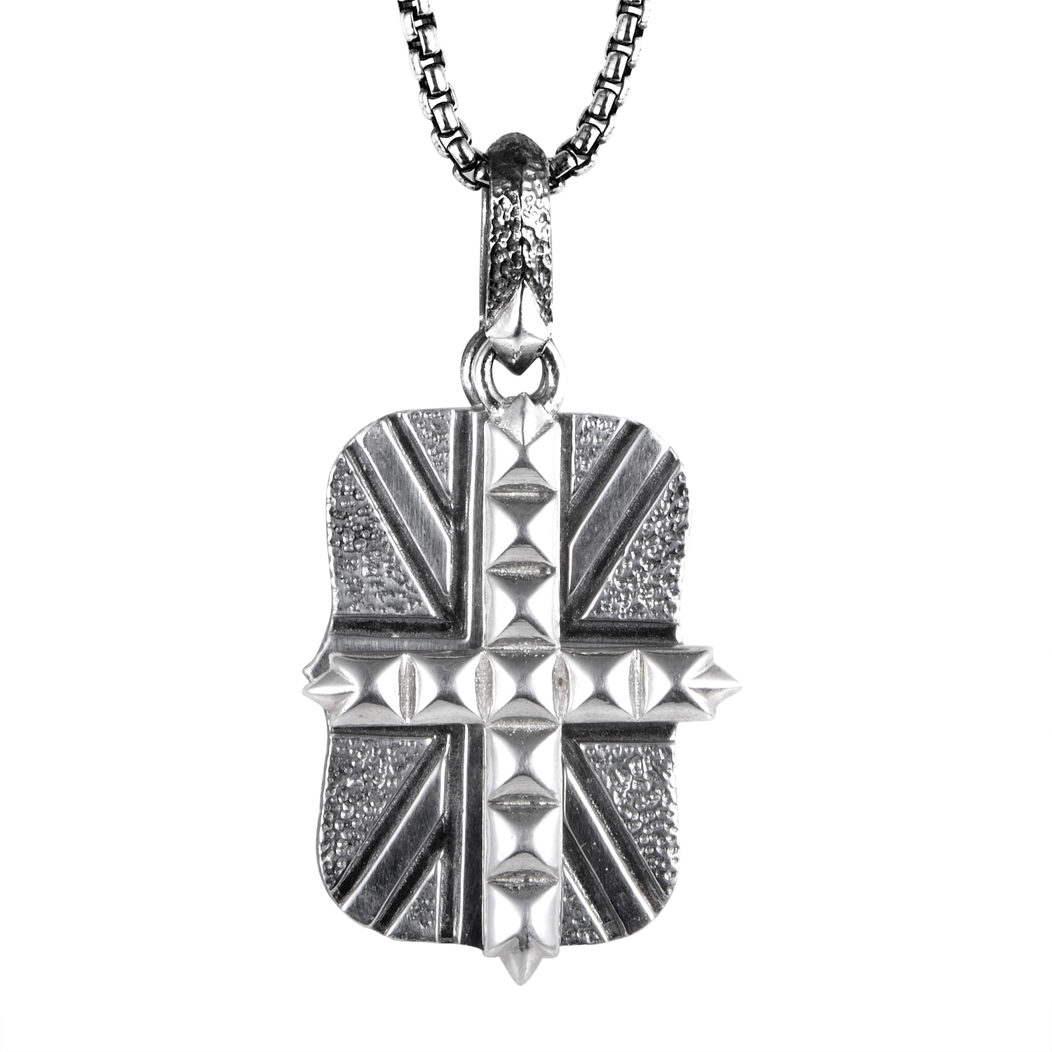 Alchemy in the UK Sterling Silver Union Jack Dog Tag Necklace
