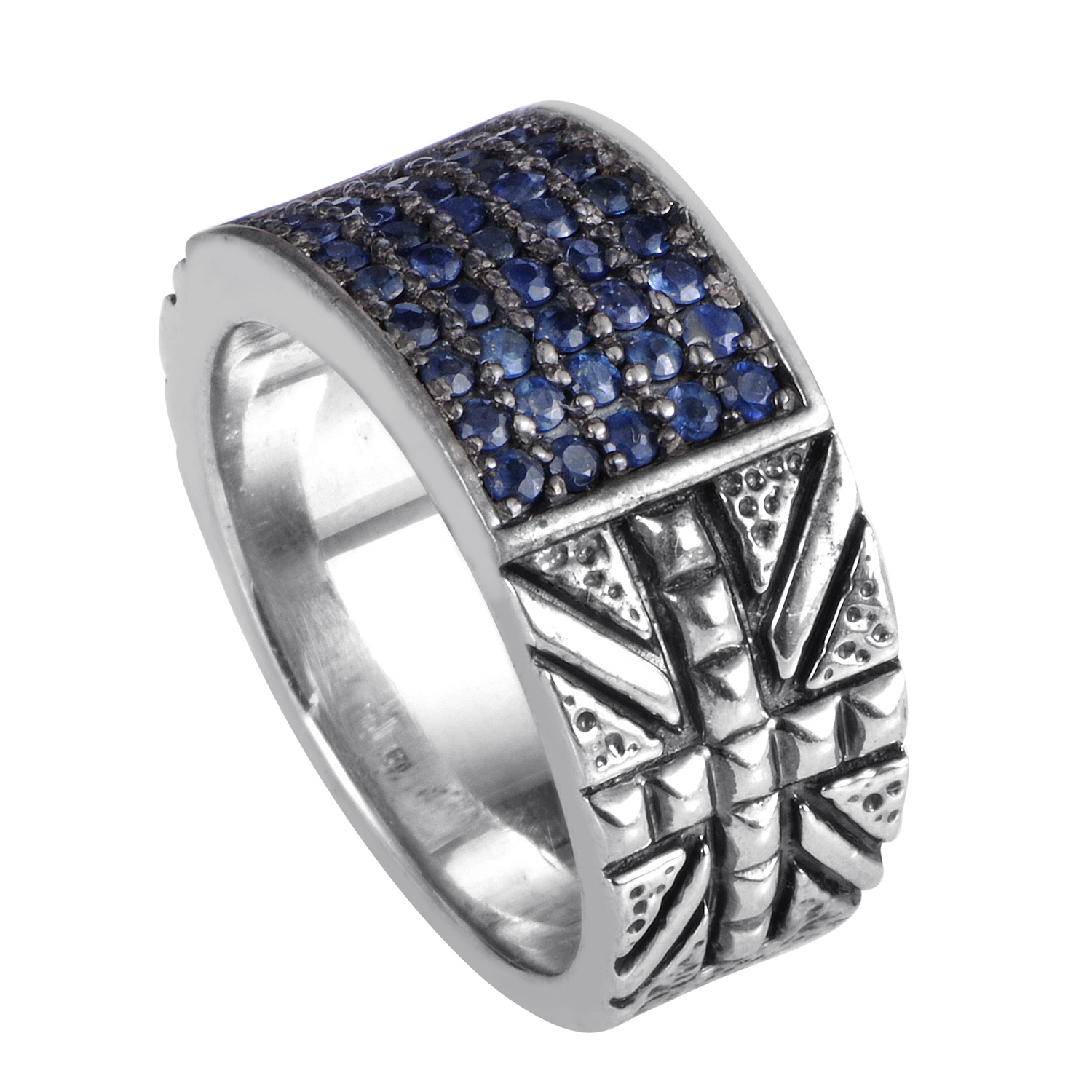 Alchemy in the UK Sterling Silver & Sapphire Union Jack Ring