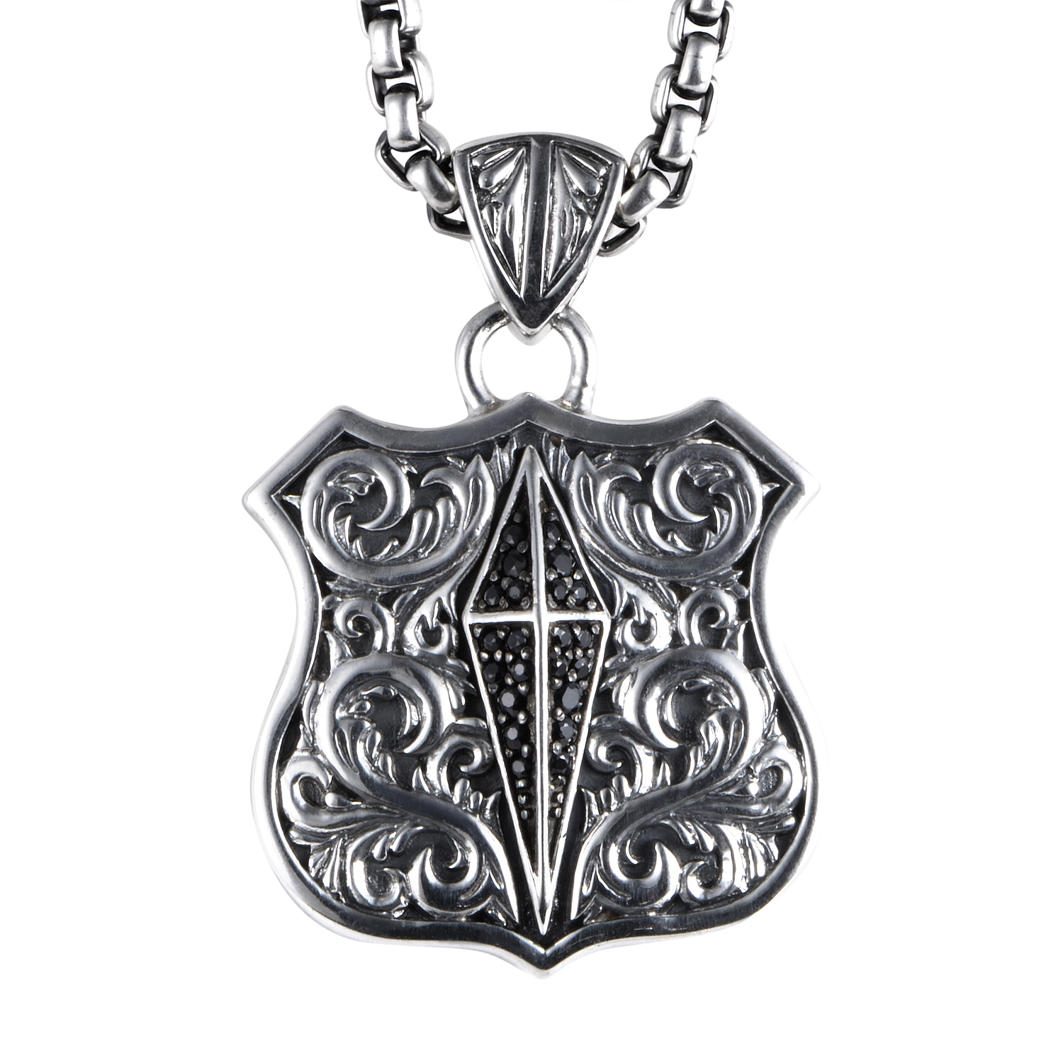 Highwayman Sterling Silver Black Sapphire Pendant Necklace