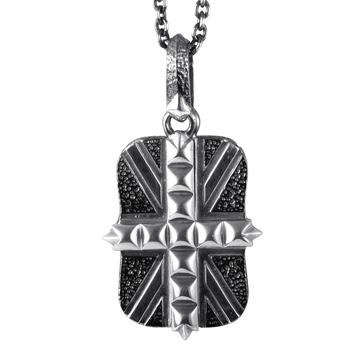 Mens Sterling Silver Union Jack Dog Tag Pendant Necklace