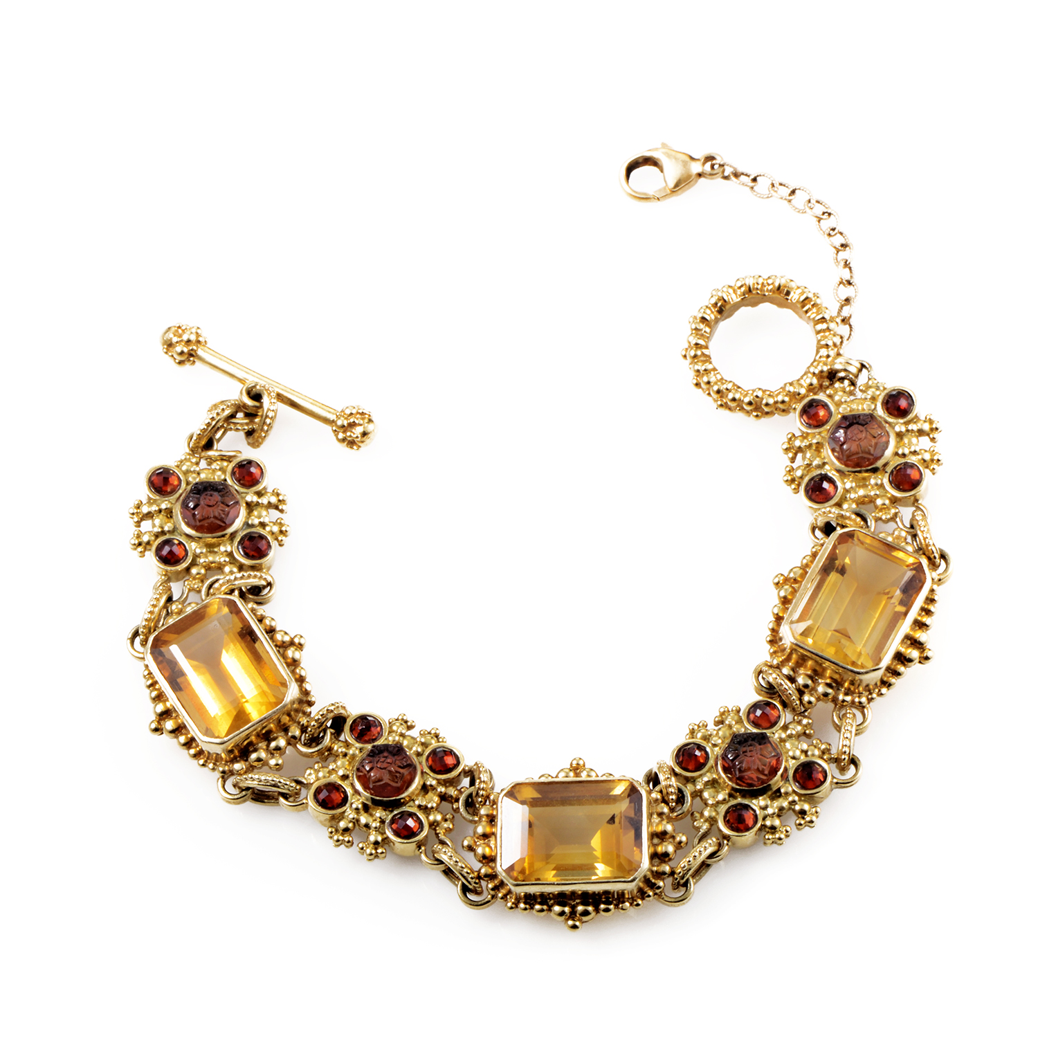 Stephen Dweck 18K Yellow Gold Garnet & Citrine Toggle Bracelet