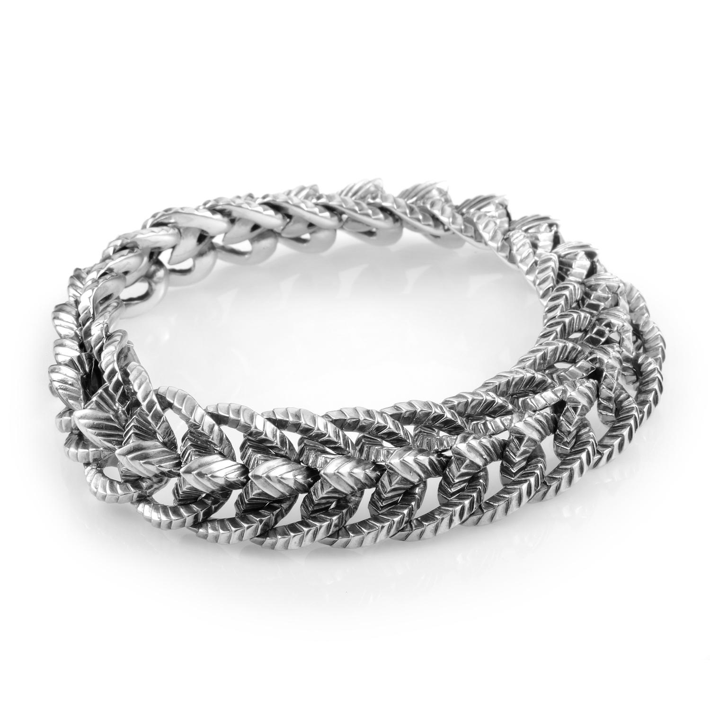 Thorn Sterling Silver Engraved Ram's Spine Bracelet