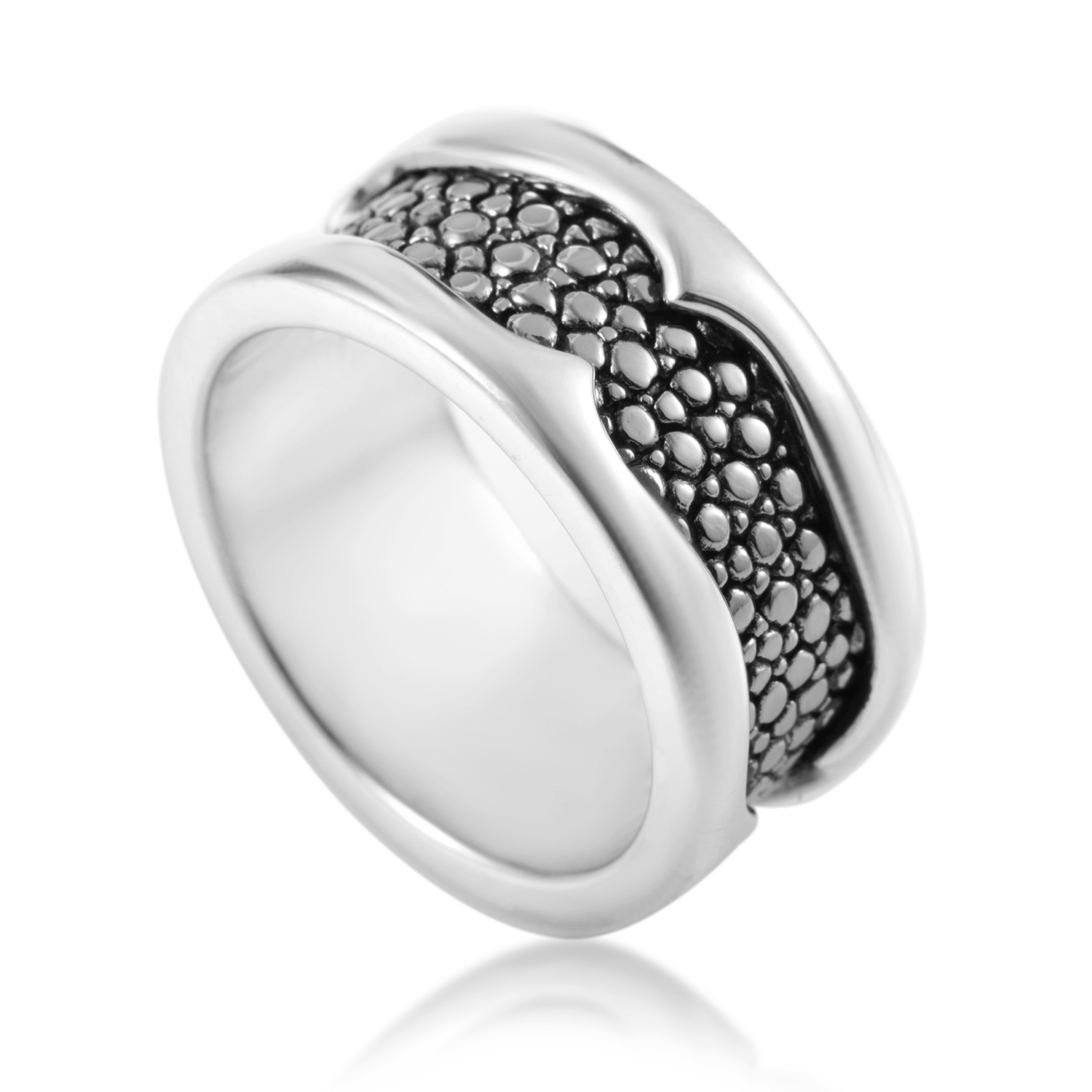 Thorn Men's Sterling Silver Rayskin Textured Band Ring