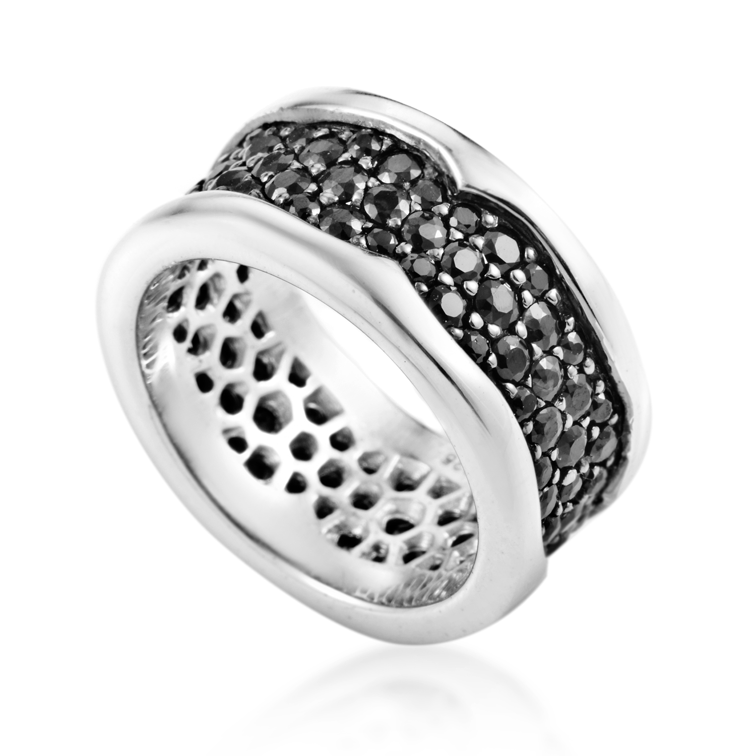 Rayman Women's Sterling Silver Black Sapphire Pave Band Ring 3005280