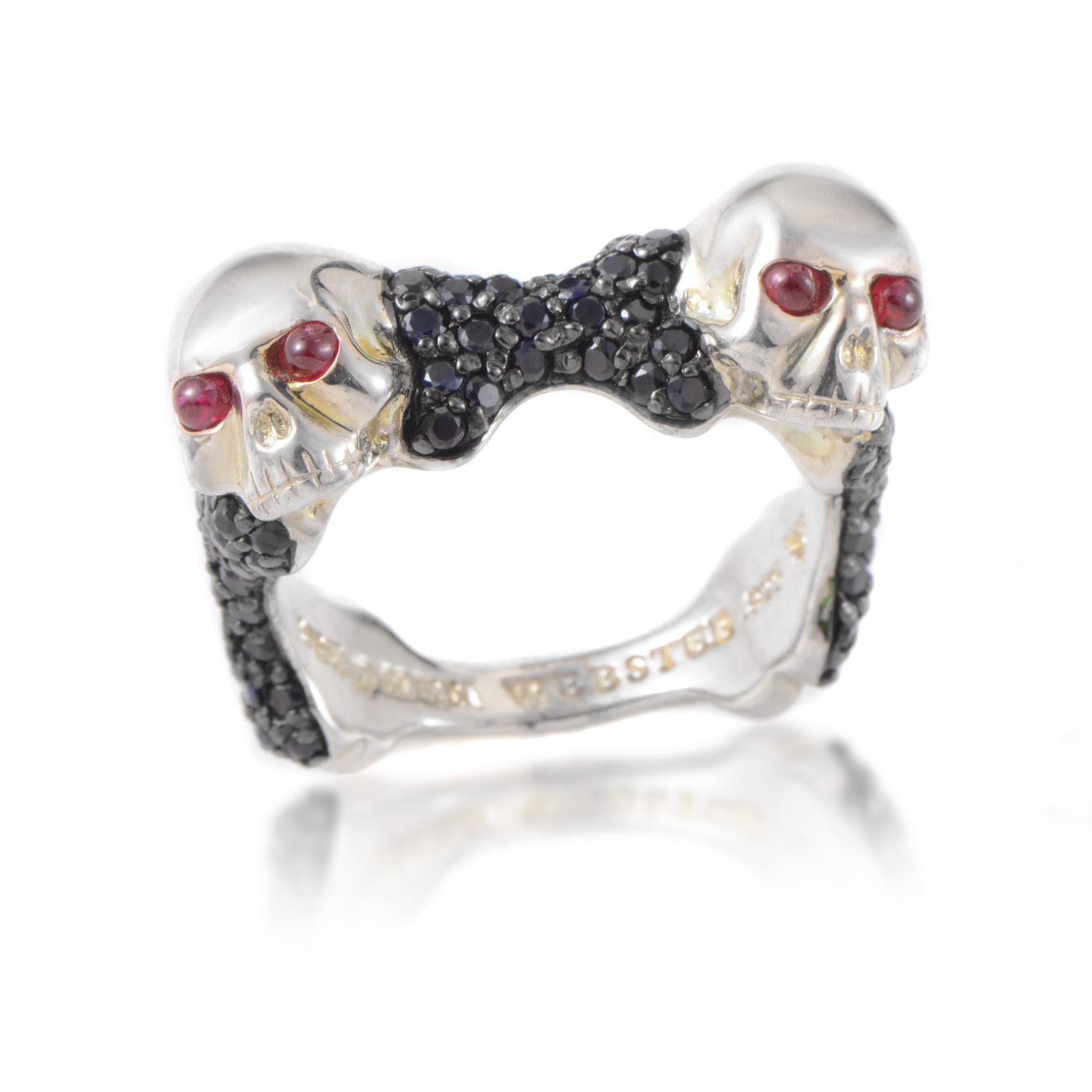 Skull & Bones Men's Sterling Silver Ruby & Black Sapphire Ring