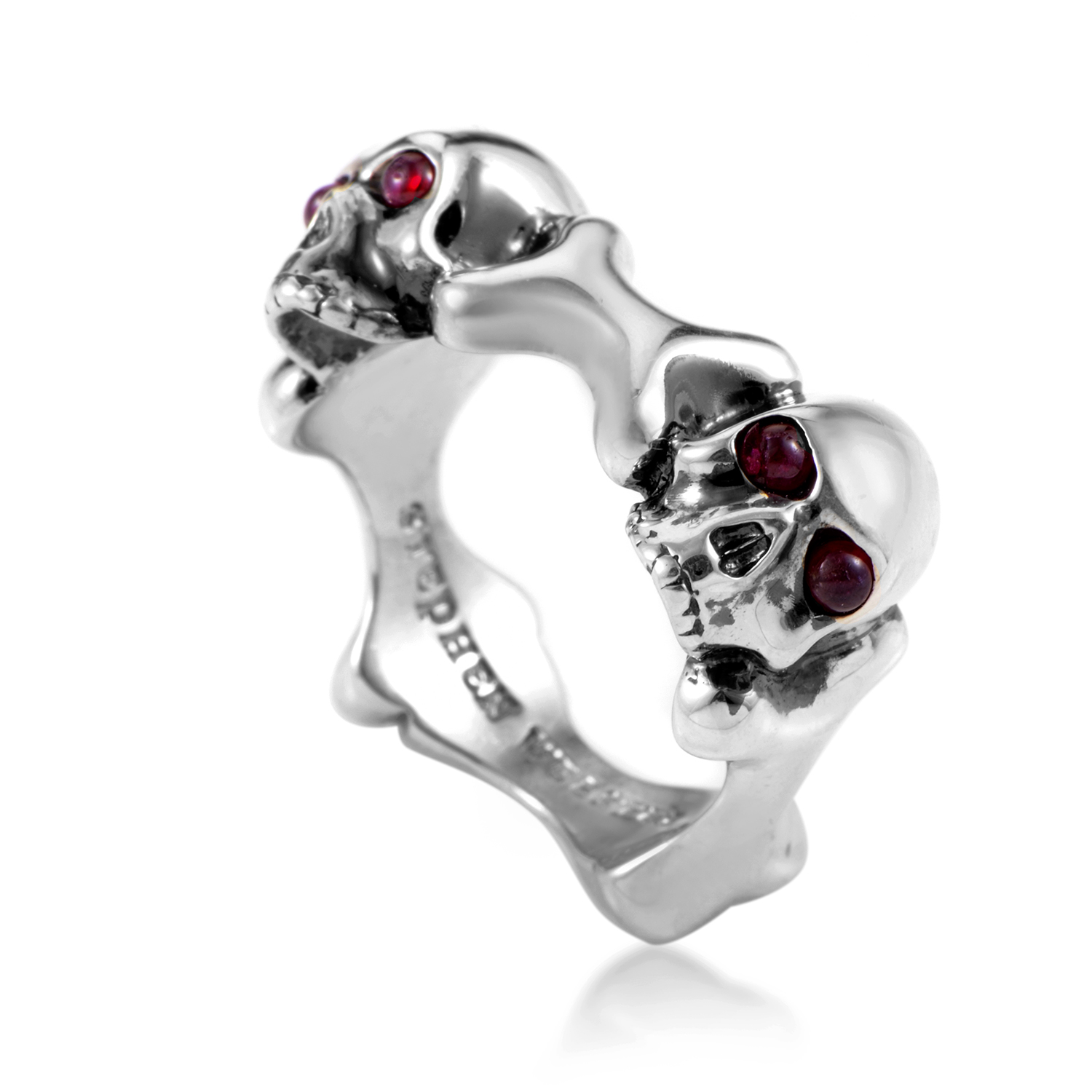 Mens Skull and Bones Sterling Silver & Ruby Ring 3005309