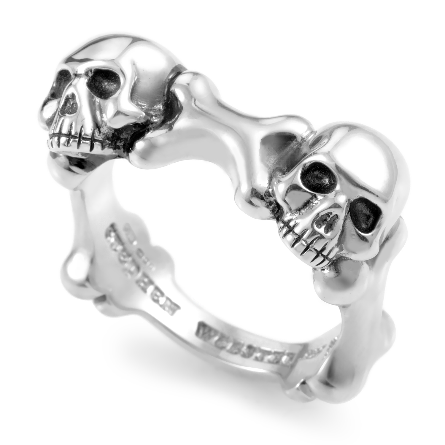 Skull and Bones Men's Sterling Silver Band Ring 3008674