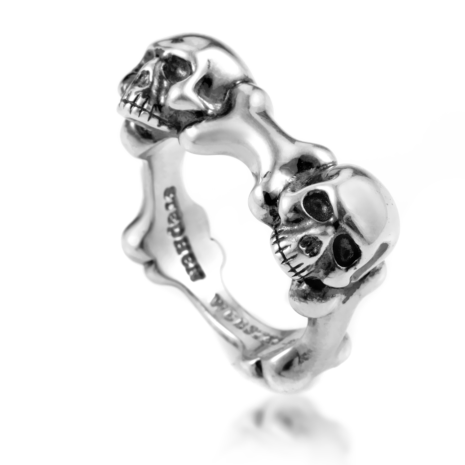 Mens Sterling Silver Skull and Bones Ring 3005317