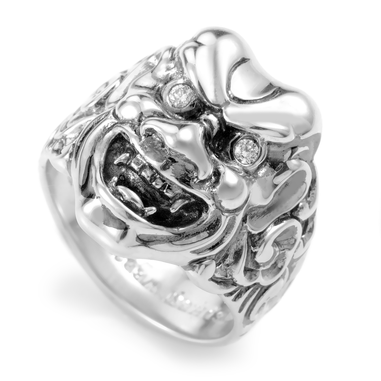 Sterling Silver & Diamond Japanese Warrior Mask Ring