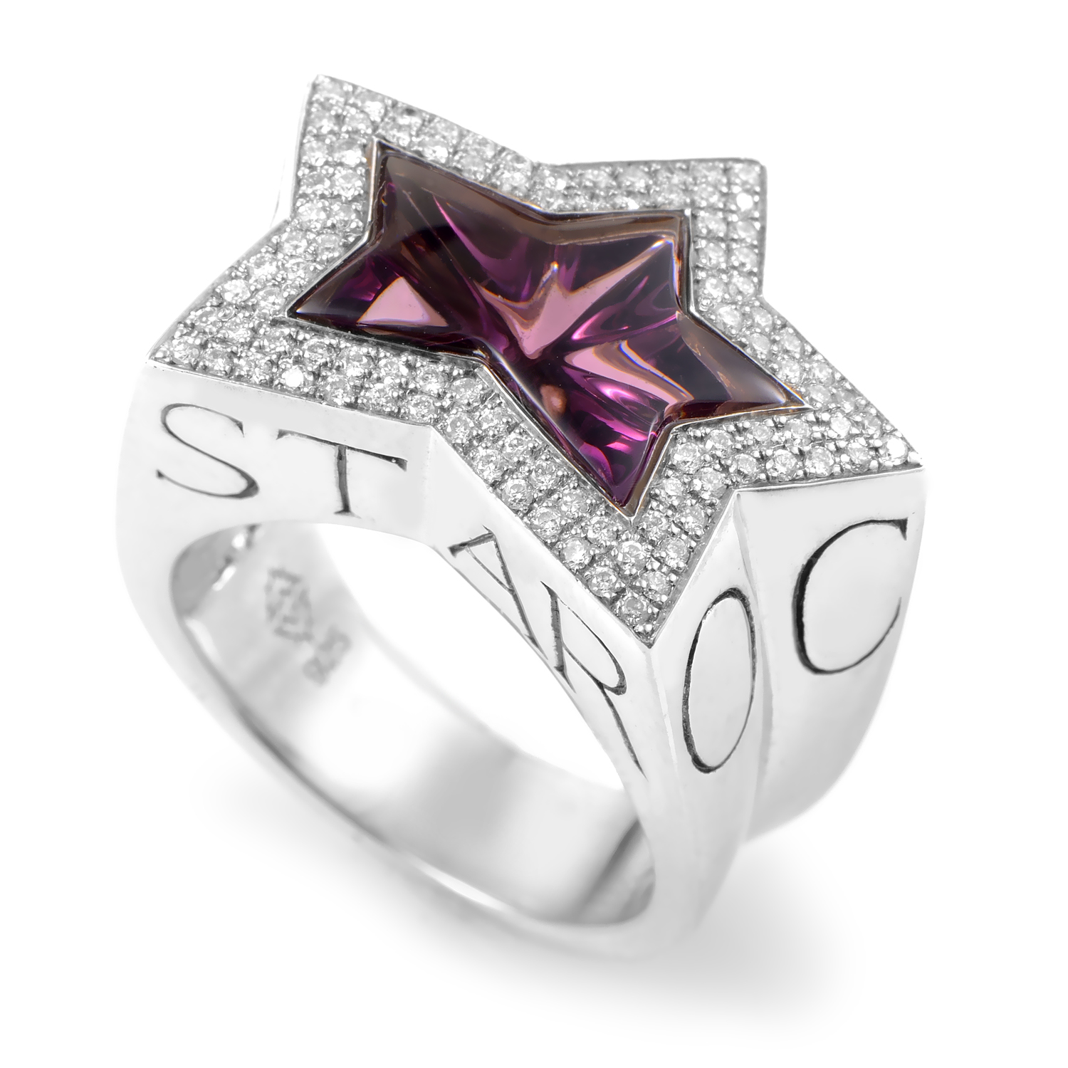 Rockstar Sterling Silver Diamond & Amethyst Ring