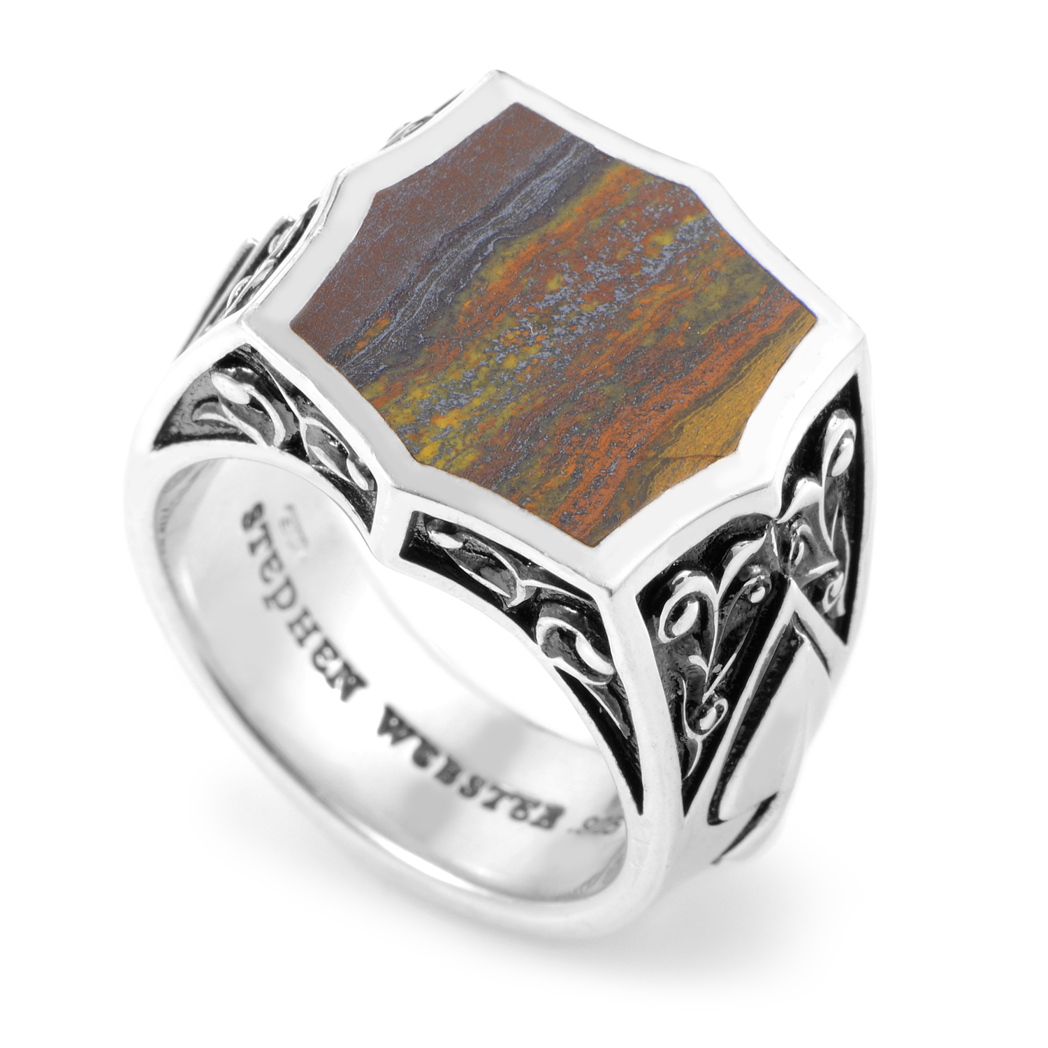 Ace Sterling Silver Tiger Iron Stone Ring