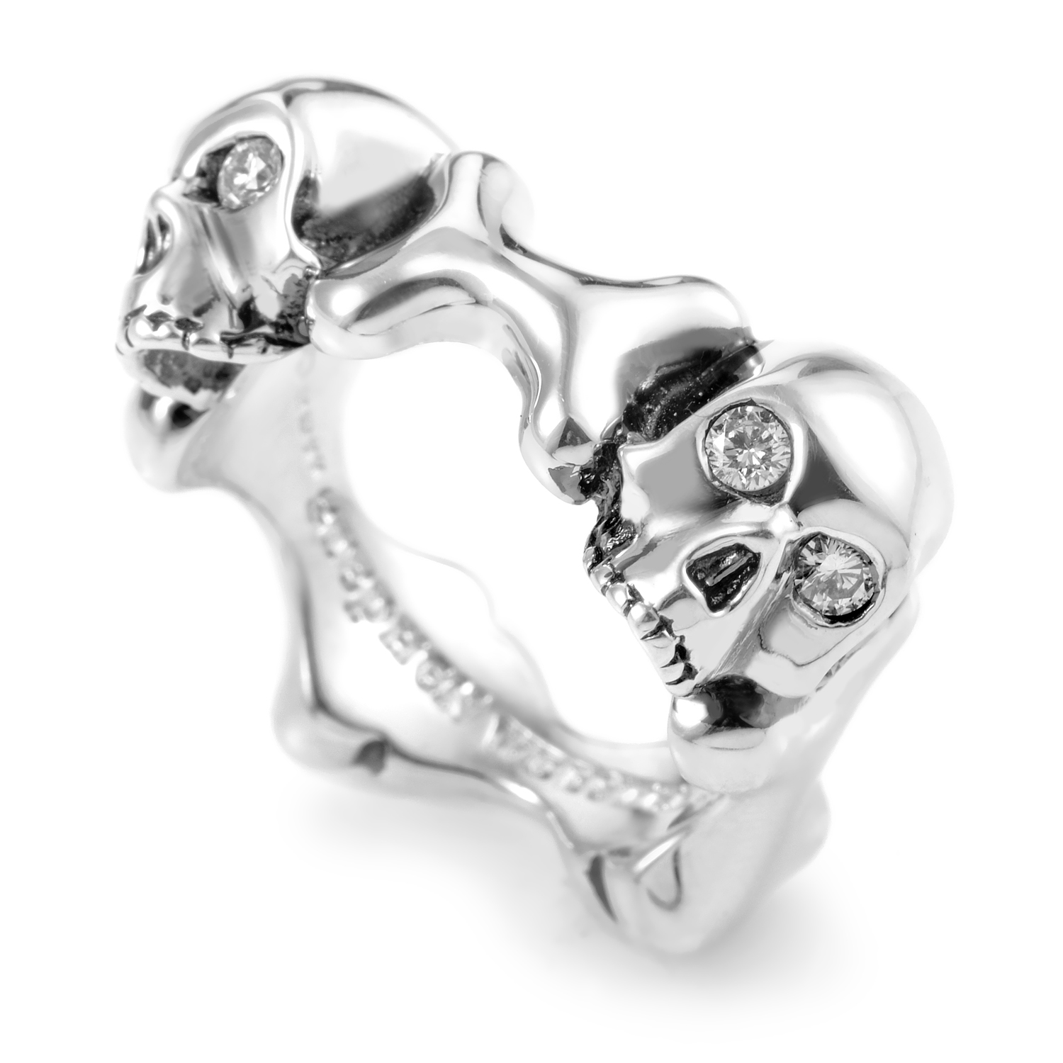 Skull and Bones Sterling Silver Diamond Band Ring