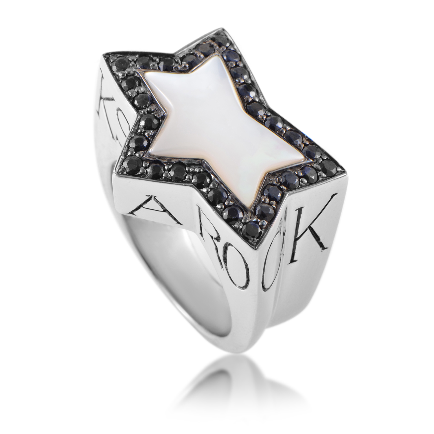 Rock Star Men's Silver Mother of Pearl & Black Sapphire Ring
