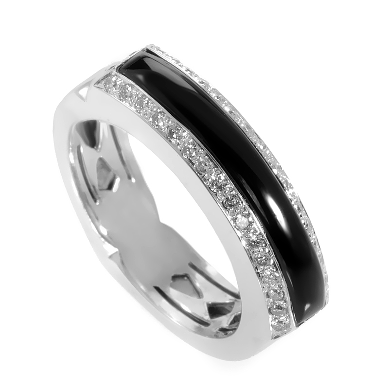 18K White Gold Onyx & Diamond Ring 3008054053