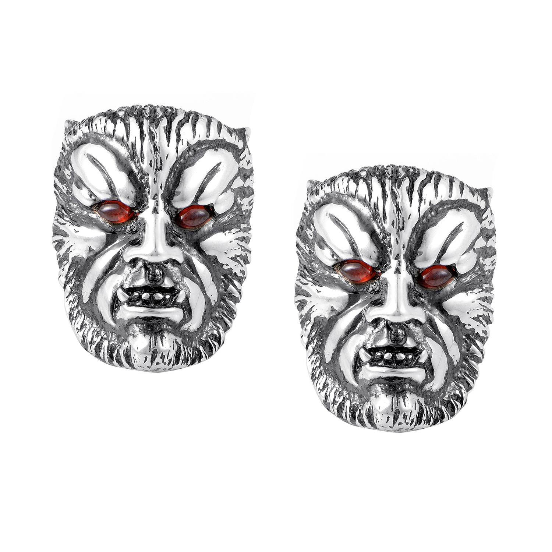 Men's Sterling Silver Garnet Wolfman Cufflinks 3008719