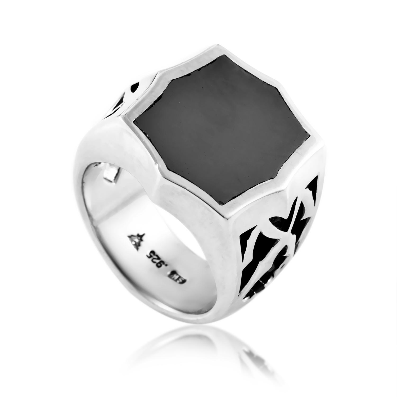 Men's Sterling Silver Hematite Signet Ring 3008834