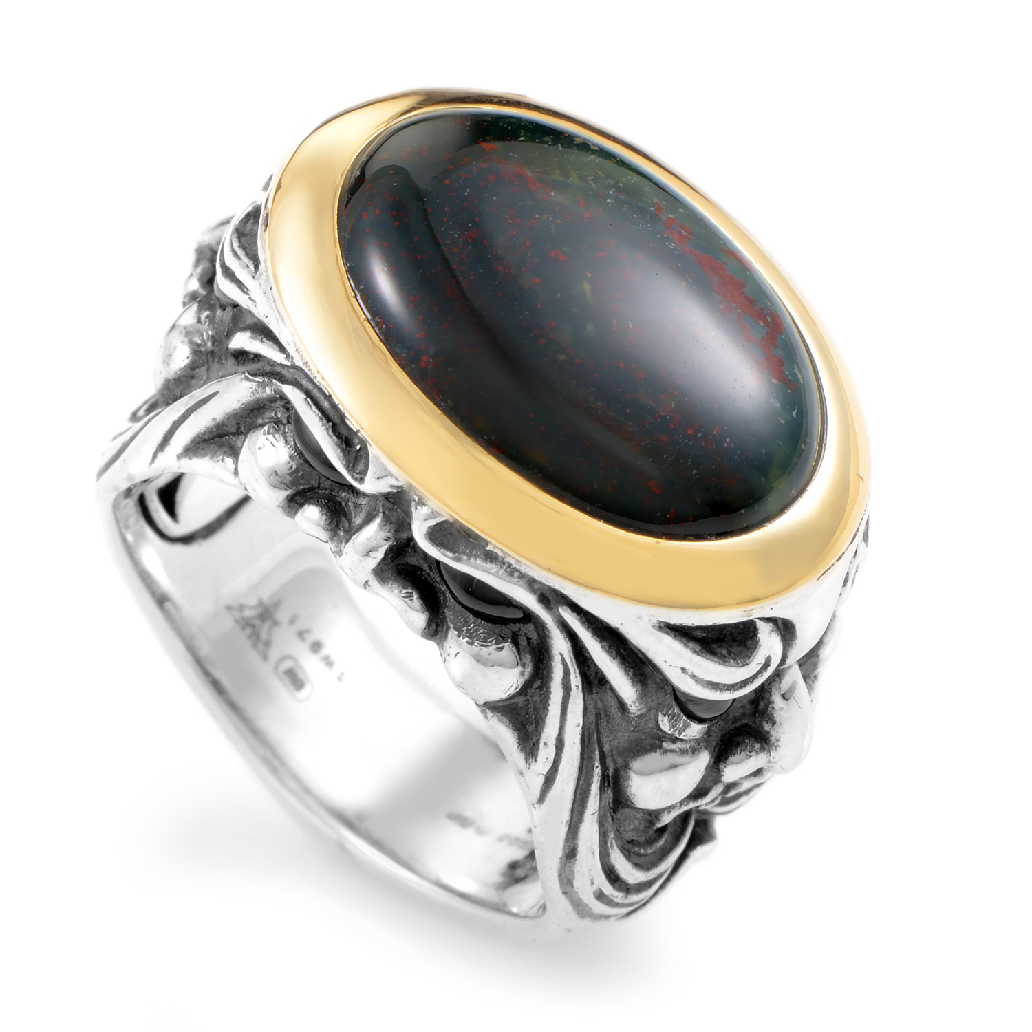 Silver & 18K Yellow Gold Bloodstone and Garnet Gargoyle Ring