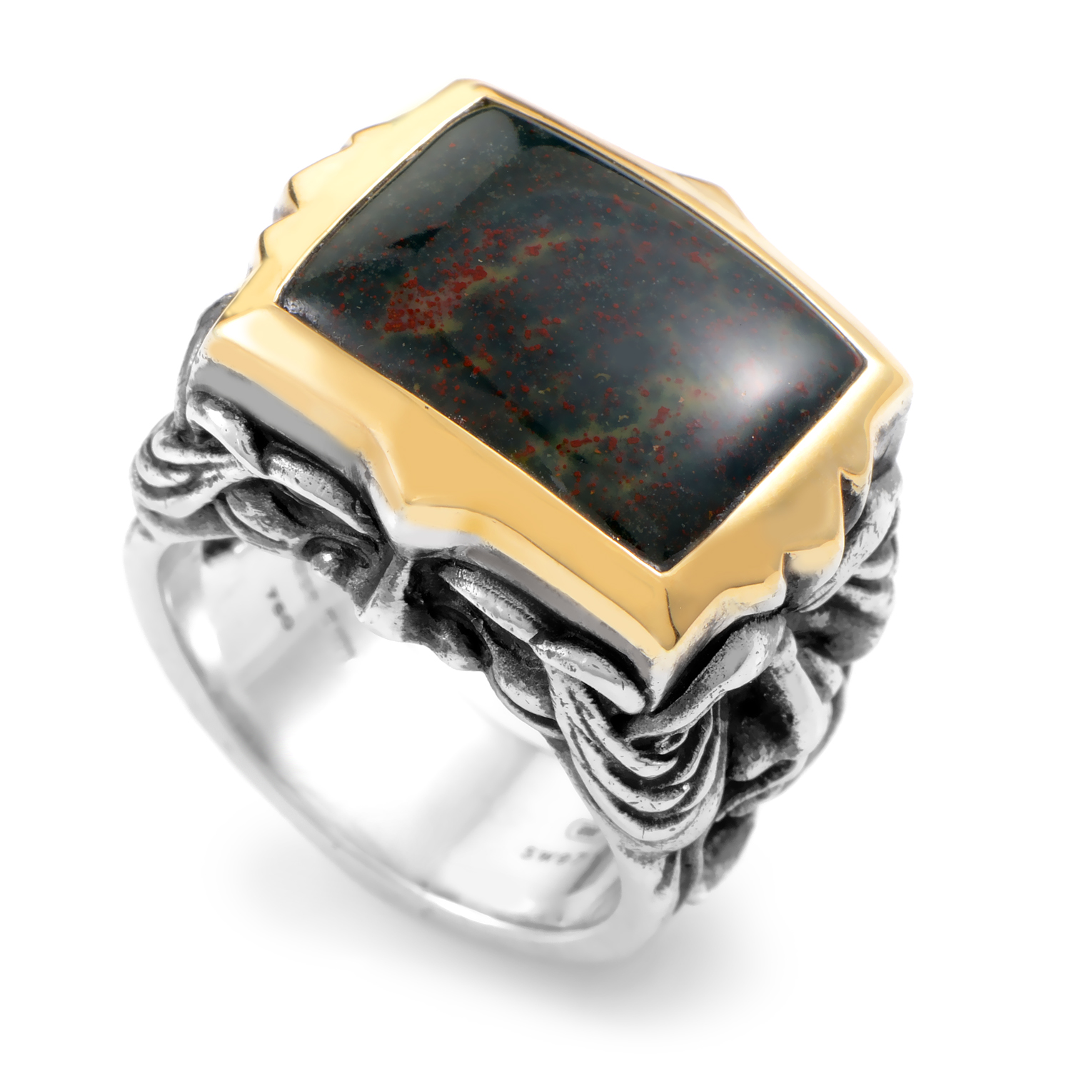London Calling Silver & 18K Yellow Gold Bloodstone Gargoyle Ring