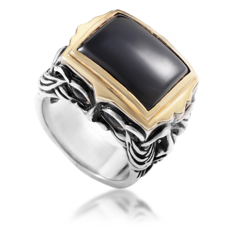 Silver & 18K Yellow Gold Black Jade & Garnet Gargoyle Men's Ring