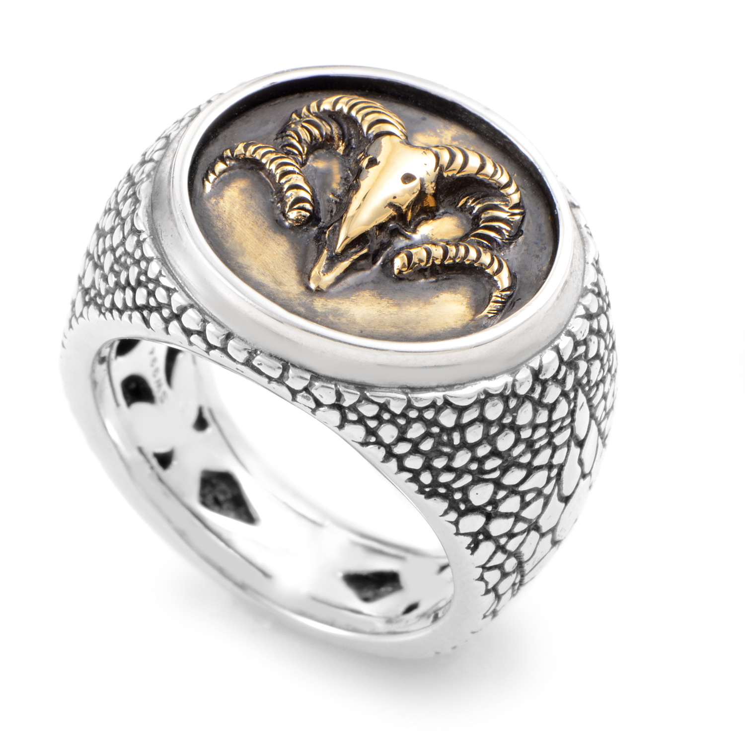 Sterling Silver & 18K Yellow Gold Ram's Head Coin Ring