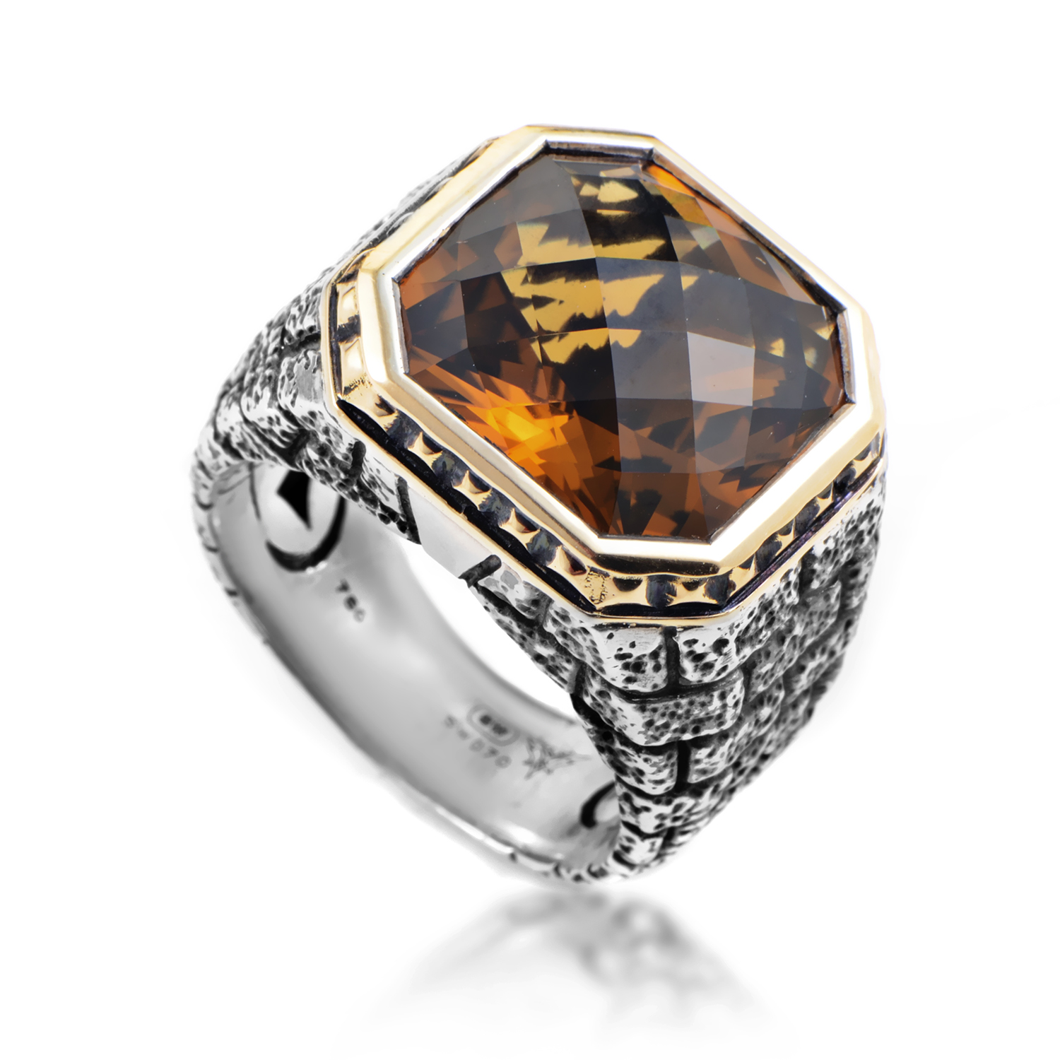 Mens Sterling Silver & 18K Yellow Gold Whiskey Quartz Ring