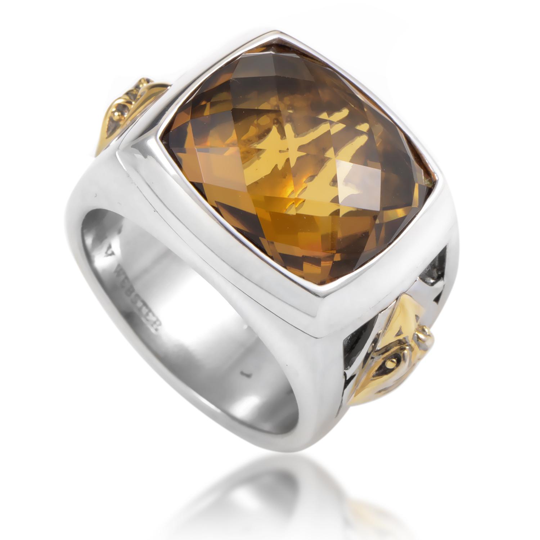 London Calling Silver & Yellow Gold Whiskey Quartz Ring 3010631019