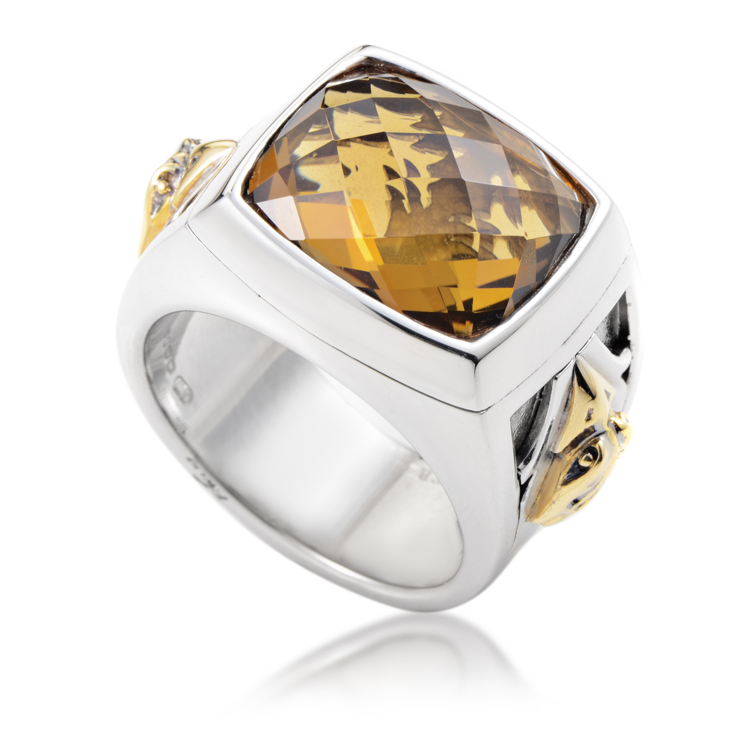 London Calling Silver & 18K Yellow Gold Whiskey Quartz Ring