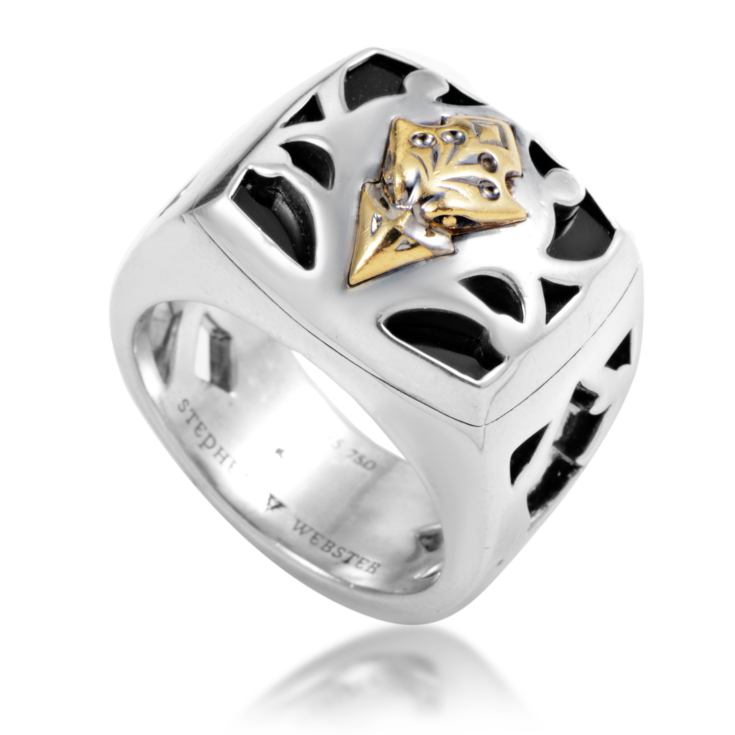 London Calling Gold-Tone Sterling Silver & Onyx Ring
