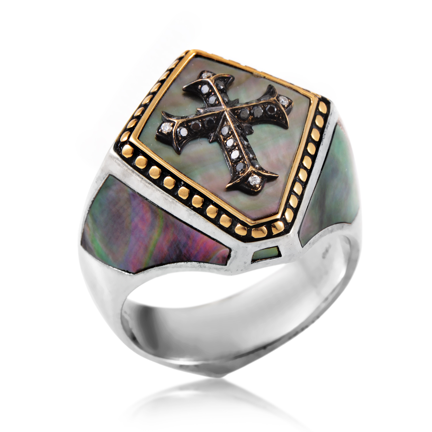 Men's Gold-Plated Diamond & Mother Of Pearl Cross Signet Ring