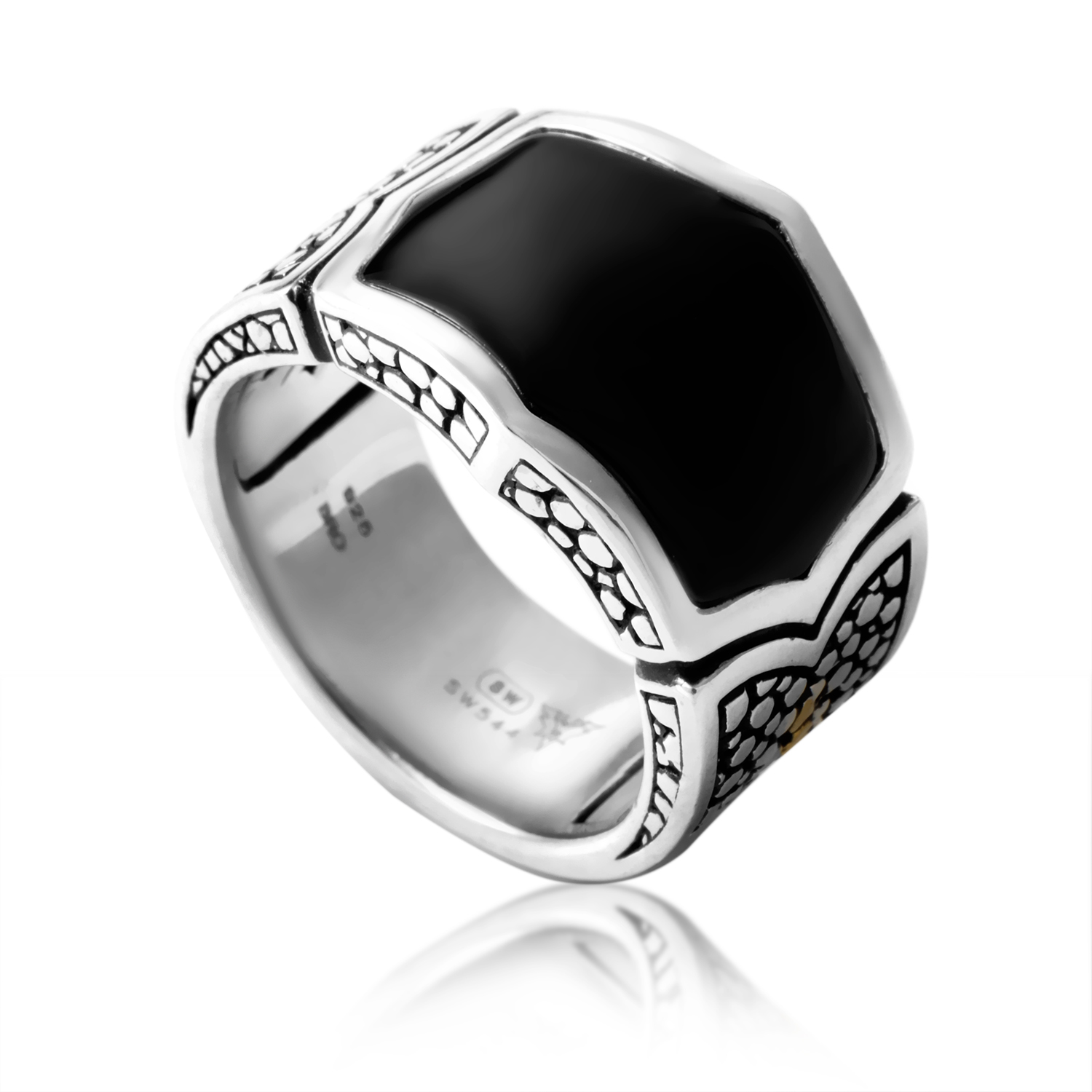 Thorn Men's Sterling Silver Bronze & Onyx Rayskin Ring