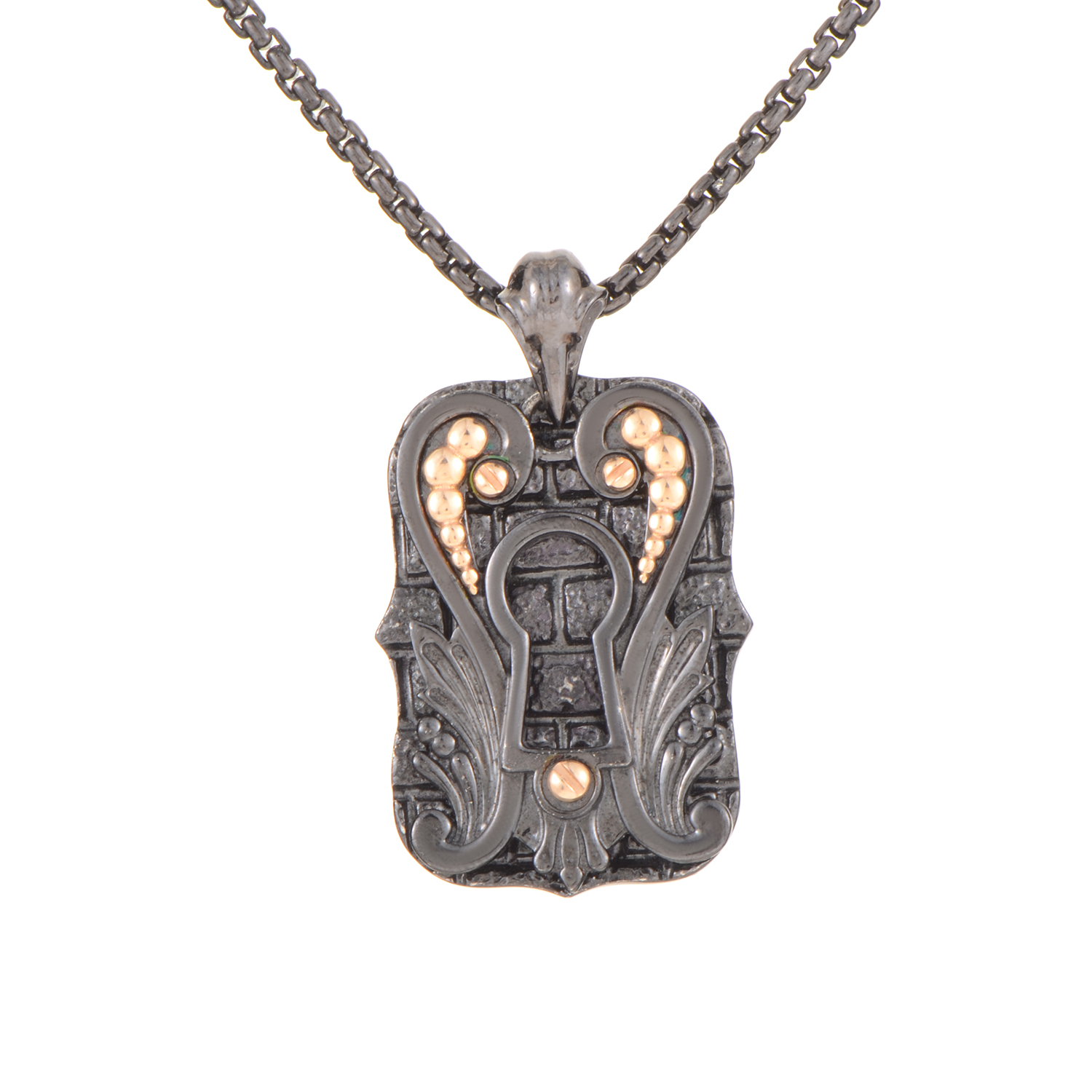 London Calling Gold-Plated Silver Double Dog Tag Pendant Necklace