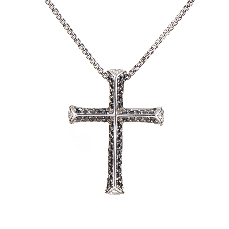 Rayman Men's Sterling Silver Black Gemstone Cross Pendant Necklace