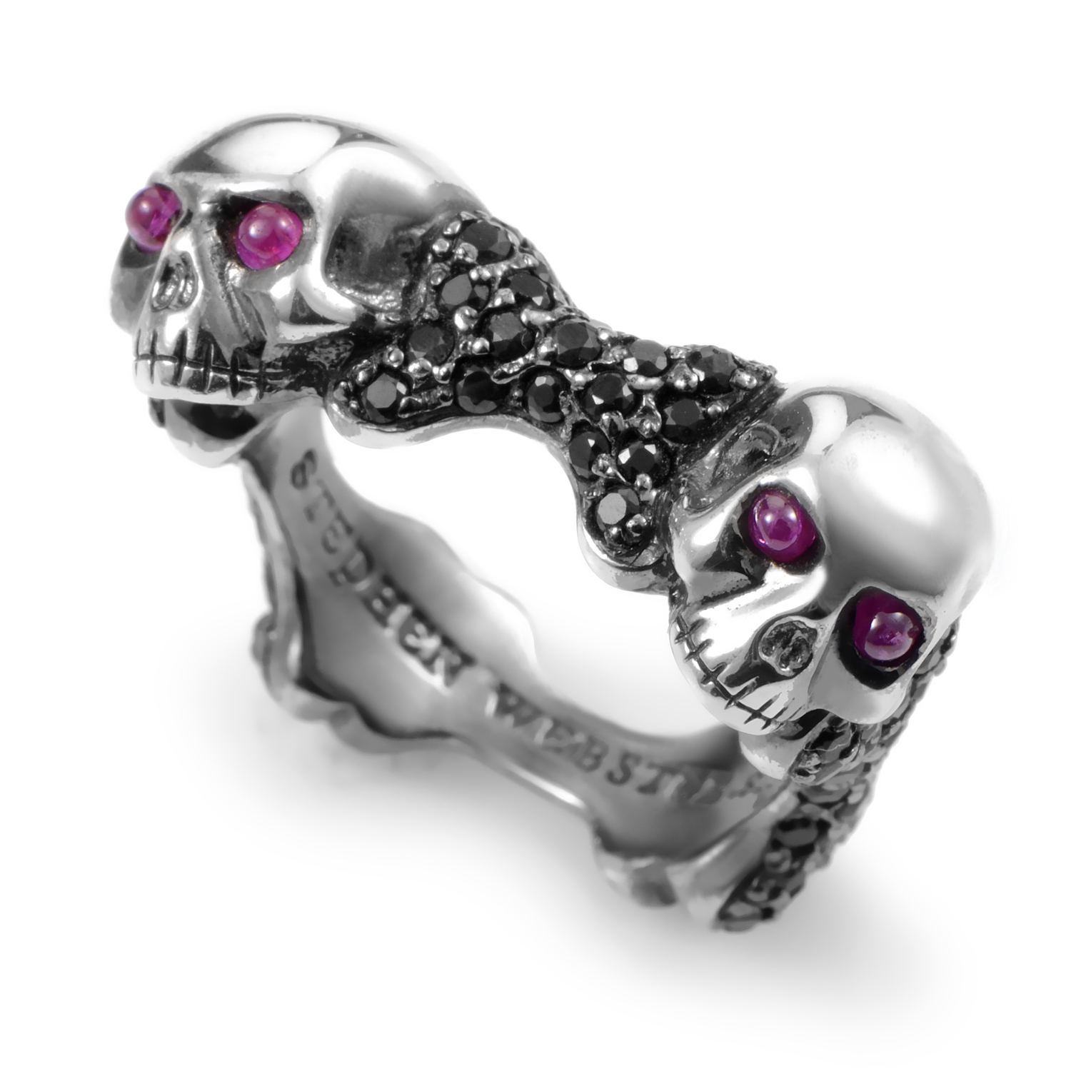Skull and Bones Men's Sterling Silver Ruby & Black Sapphire Ring