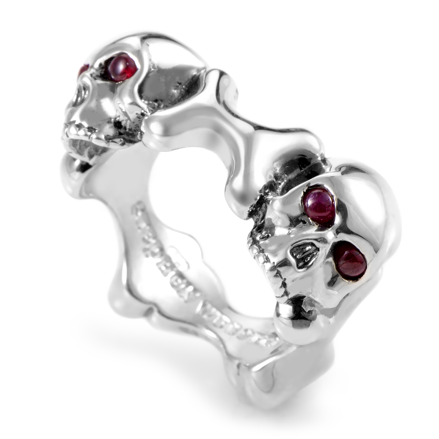 Skull and Bones Sterling Silver and Ruby Band Ring