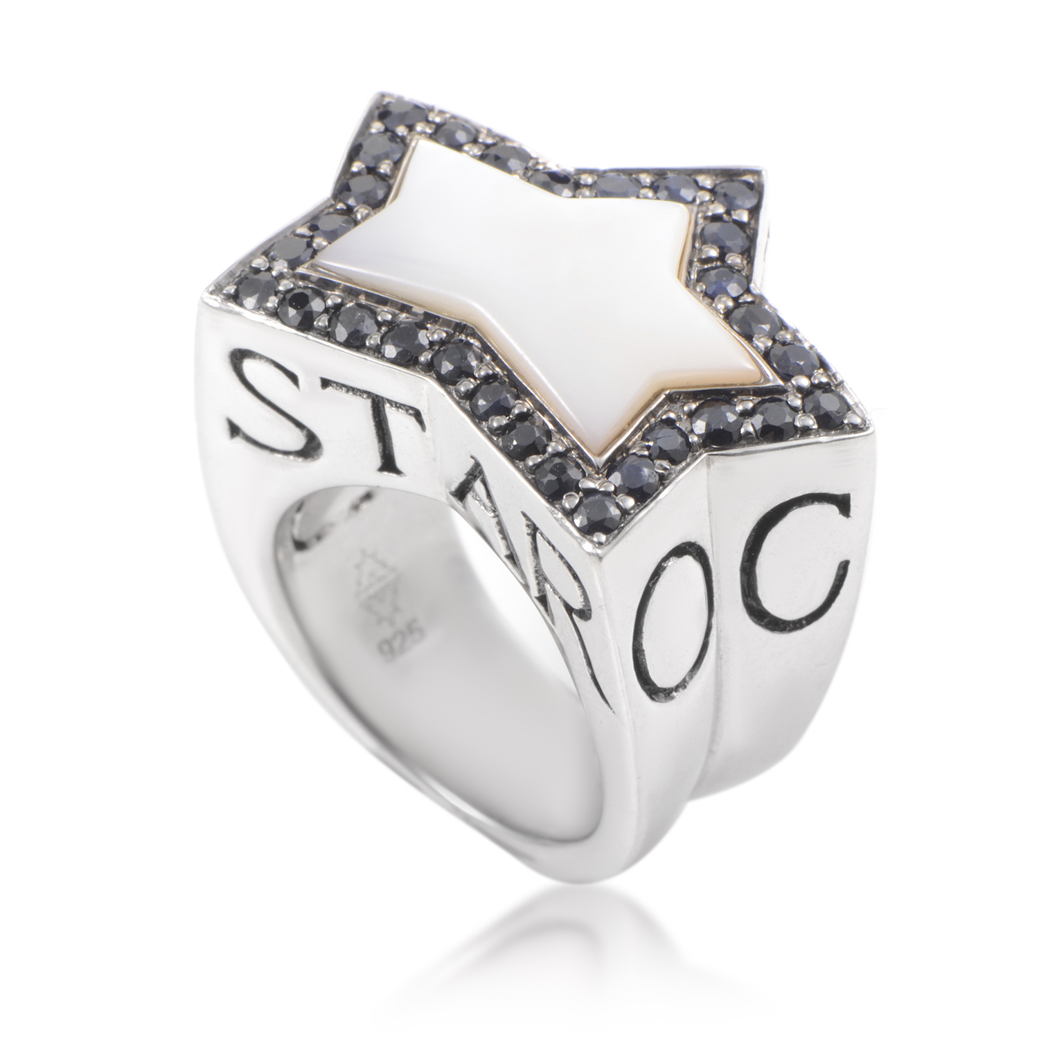 Rock Star Women's Sterling Silver Mother of Pearl & Sapphire Ring